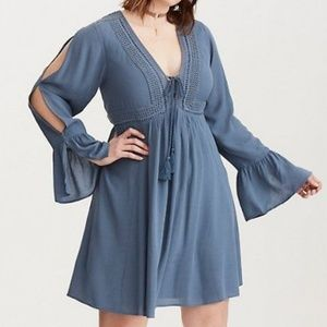 Torrid blue boho long sleeve dress